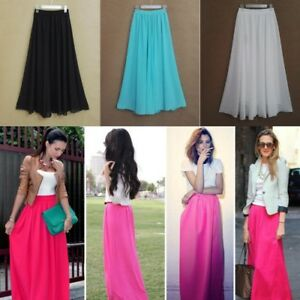 Women Long Skirt Elegant Style Solid Pleated Chiffon Floor Length Maxi Natural