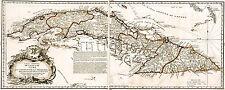 LARGE Carta Maritima de la Isla de Cuba 1825 - MAP Vintage Repro Print 24x60