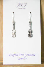 Violin Earrings Music Instrument 925 sterling silver hooks pewter charms