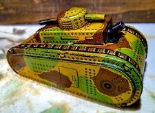 Antique CK Kuramochi Sparkling Tank Tin Toy Made in Japan Windup 100%Orig.WORKS