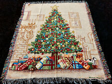 Christmas Elegance II Tree w/Presents Tapestry Afghan Throw