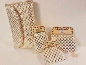 VINTAGE 4 Pc. RALFEAUX Purse & Case SET Late 60's Gold & White  3 New w/Tags Yet