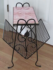 Vtg Magazine Newspaper Basket Side Table Plant Stand Tiles Black Wrought Iron