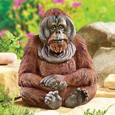 Intricately Hand-Painted Realistic Looking Orangutan Outdoor Garden Statue