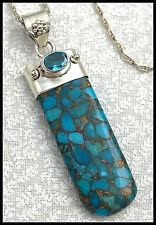 "Vintage .925 Sterling Silver, Copper Vein Turquoise & Cz Pendant Necklace - 18"""