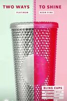 One Holiday Starbucks 2019 Venti Bling Iridescent Hot PINK Studded Cup Tumbler!