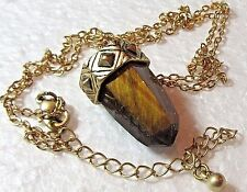 Pendant Tigers Eye Unisex Faceted  Polished Gold Tone Setting  Link Chain  Value