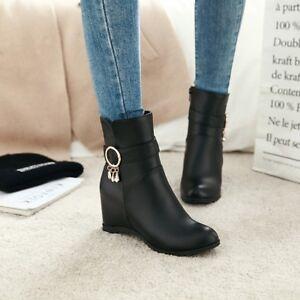 Women Wedge Heels Ankle Boots Decor Zipper Chic Shoes Rhinestones Hidden Metal