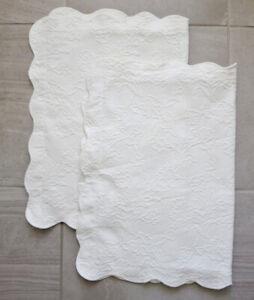 2 Martha Stewart Everyday WHITE Floral Matelassé Pillow Shams Scallop Edge 20x30