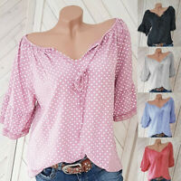 Women's Plus Size Half Sleeve Polka Dot Lace V-neck Blouse Pullover Tops Shirt