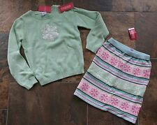 NWT Sz 7 Gymboree WINTER BALLERINA Mint Green White Snowflake Sweater Pink Skirt