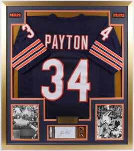 Walter Payton Signed Bears 32x36 Custom Framed Index Card Display Jersey & Pins