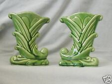 Shawnee Green Cornucopia Pair Vases Horn of Plenty Made in USA 825 Planter