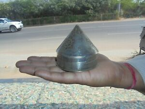 Old Brass Conical Shape Lacquer Work Engraved Unique Pill Box