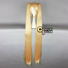 Golden Anime Vocaloid Akita Neru Short Straight Cosplay Wig + 130CM Ponytails