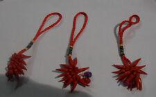 3 corni rossi porta fortuna portachiavi amuleti  assortiti 3 horn charms corno