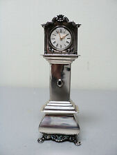 RARE VINTAGE DUTCH .833 SILVER MINIATURE DOLL HOUSE GRANDFATHER CLOCK