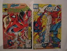 "SPIDERMAN 16 & X-FORCE 4.""SABOTAGE"" COMPLETE 2 issue X-OVER STORY.McFARLANE.1991"