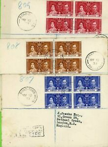 Virgin Islands 1937 Coronation set in blocks on First Day Covers