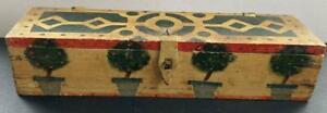 "Vintage Handpainted Folk Art Wooden Box - 11"" Long"