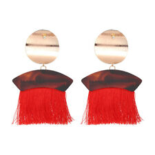 ZARA RED METAL DETAIL TASSEL DROP STUD EARRINGS