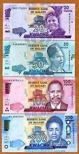 Set, Malawi, 20;50;100;200 Kwacha, 2016, P-New, UNC