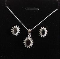 925 Sterling Silver Jet Black Cluster Pendant Necklace & Earring Set Present