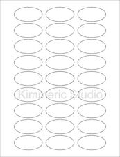 "6 SHEETS 1""x2"" OVAL BLANK WHITE STICKERS LABELS. Standard size 8-1/2""x11"""