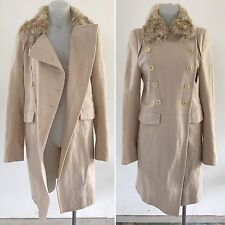 ANN DEMEULEMEESTER ivory cream WOOL COAT removable FUR COLLAR size 34 XS