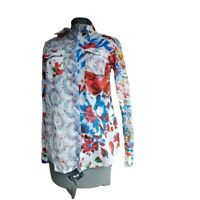 Desigual Womens Long Sleeve Patchwork Wild Flower Snap Down Blouse Size Medium
