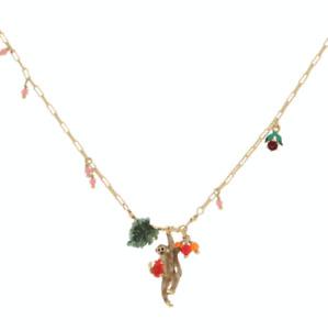 LES NÉRÉIDES 14ct Gold Plated Necklace with Enamel Jungle Monkey Pendant - £125
