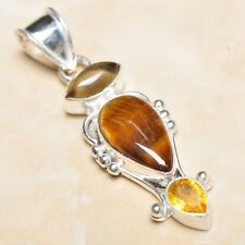 "Handmade Golden Tiger's Eye Gemstone 925 Sterling Silver Pendant 2.25"" #P07416"
