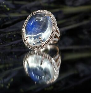 RARE Natural 30 Carat Moonstone and Diamond Ring in Rose Gold