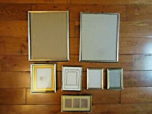 Lot of 7 Vintage MCM Gold-Tone or silver Assorted Small Metal Picture Frames
