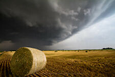 Photography Print of Golden Hay Bale Under Storm in Kansas