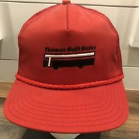 Vintage 80s 90s Thomas Built Buses snapback trucker hat cap red Made in USA