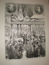 Queen Victoria lays foundation new medical exam hall Victoria London 1886 print