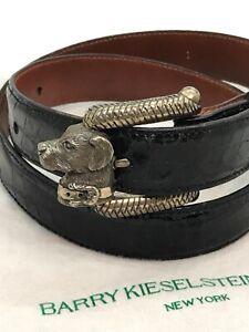 VTG Kieselstein Cord S.Silver Labrador Dog Buckle American Alligator Belt Size 1