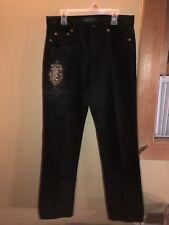 LRL Lauren Jeans Co. Ralph Lauren Size 2 Jet Black Jeans Gold Decor