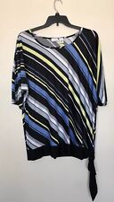 KIM ROGERS WOMEN PLUS SIZE 2X BLACK YELLOW BLUE GRAY WHITE TOP BLOUSE SHIRT NWT