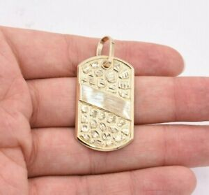 """2"""" Dog Tag Nugget Style Diamond Cut Charm Pendant Real SOLID 10K Yellow Gold"""