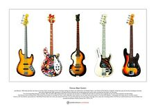 Famous Bass Guitars Limited Edition Fine Art Print A3 size