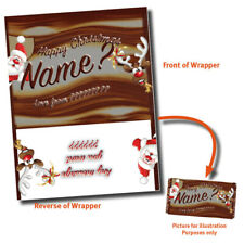 CHRISTMAS PERSONALISED CHOCOLATE BAR WRAPPER fits Galaxy 110g VARIOUS GIFT IDEA