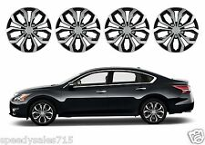 "Pilot Automotive Spyder 16"" Black/Silver Custom Hub Caps Wheel New Free Shipping"