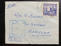 1941 British Field Post 122 Cyprus Censored Cover To St Georges Bermuda