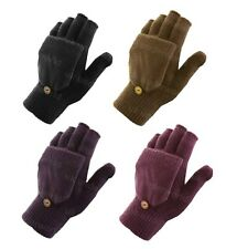 Ladies Womans Fingerless Capped Half Gloves Winter Warm Shooting Mittens 2 In 1