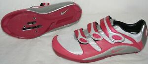 NIKE Road Bike Bicycle Spinning Shoes 2 or 3 Bolt Gray Pink Red 39 US Women 8 A+