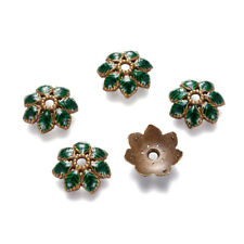 10 Tibetan Alloy Enamel Flower Bead Caps Green Bronze 7-Petal Spacers Ends 15mm