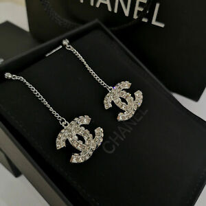 CHANEL NIB Double-sided Square Crystal CC LOGO 5cm Pendant Stud Earrings