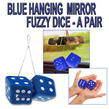 "Zone Tech Pair Car Blue Key Chain Hanging Mirror 2.75"" Fuzzy Dice"